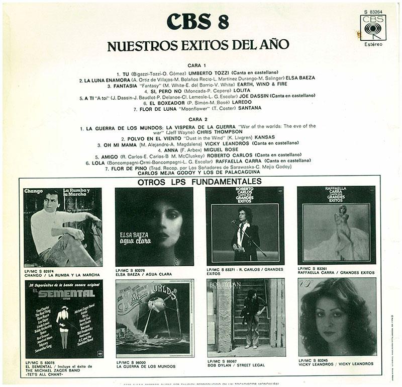 3-Nuestro éxitos del año CBS 8. Contraportada LP.