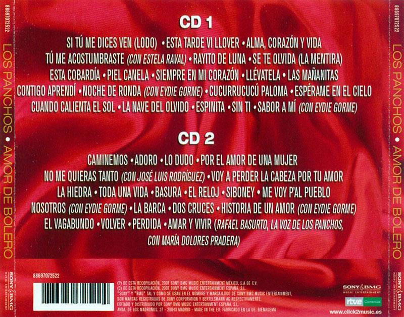 18-Contraportada Los Panchos Amor de Bolero.