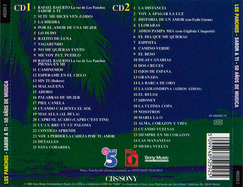 33-Los Panchos Sabor a ti trasera CD.