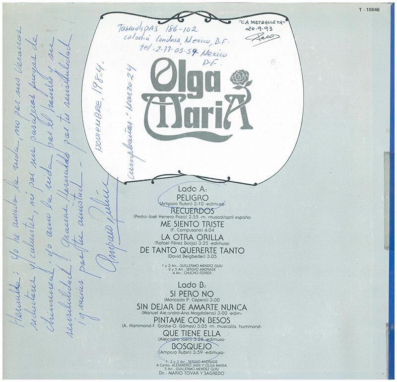 14-Contraportada del LP de Olga María.