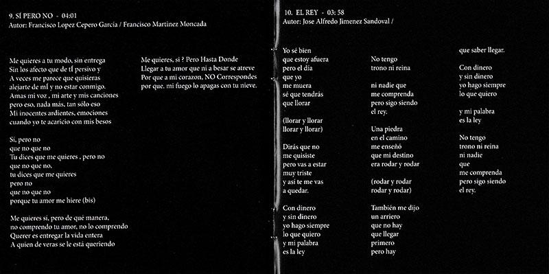 16-Libreto de CD de Juan Peña donde está impresa la letra de la canción Sí, pero no.
